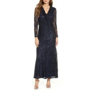 Tahari Long Sleeve Sequin Lace Gown